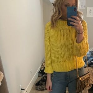 Free people yellow spring sweater knit